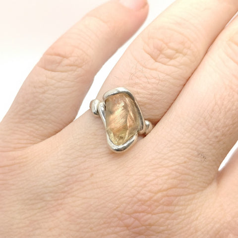 Raw Oregon Sunstone Crystal Ring in Sterling Silver Sz 7.5