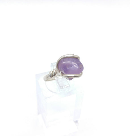 Raw Lavender Oregon Holley Blue Agate Ring in Sterling Silver Size 6