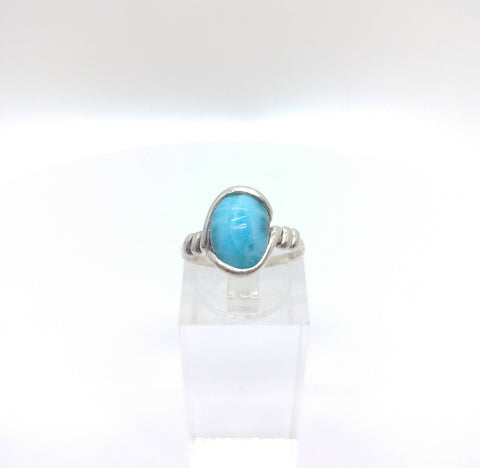 Rare Ocean Blue Larimar Ring in Sterling Silver Ring Sz 5.25
