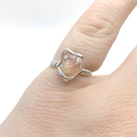 Raw Pink Oregon Sunstone Crystal Ring in Hammered Sterling Silver Sz 6.75