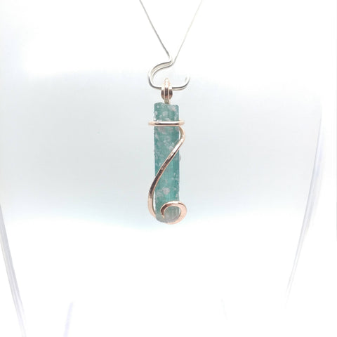 Raw Blue Tourmaline Crystal Necklace in 14kt Rose Gold Fill