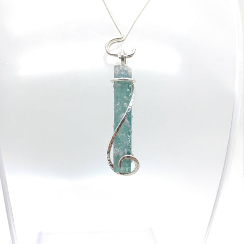 Raw Blue Tourmaline Crystal Pendant in Sterling Silver