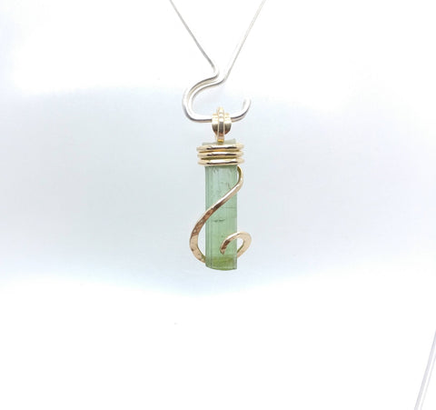 Raw Green Tourmaline Crystal Pendant in 14kt Yellow Gold Fill