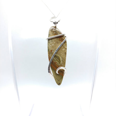 Oregon Rocky Butte Picture Jasper Pendant in Sterling Silver