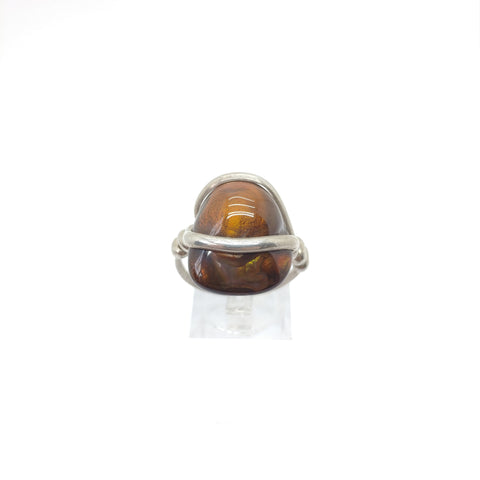 Mens Mexican Fire Agate Ring in Sterling Silver Sz 10