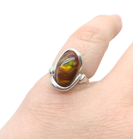 Mexican Fire Agate Ring in Sterling Silver Ring Sz 6.75