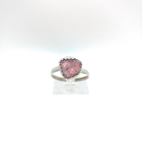Raw Pink Tourmaline Crystal Ring in Sterling Silver Ring Sz 8.25