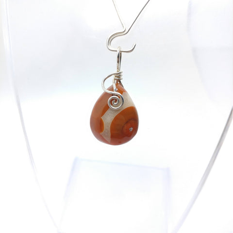 Red Carnelian Banded Agate Pendant in Sterling Silver