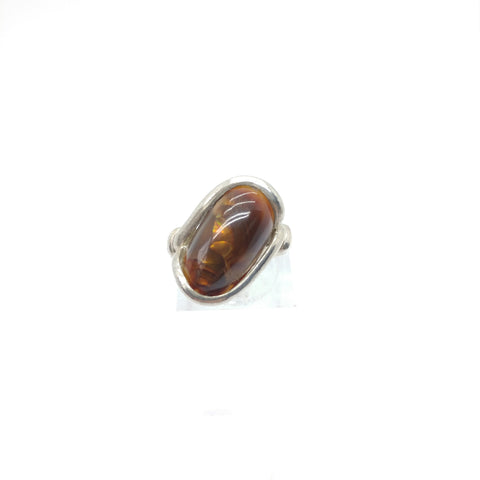 Mexican Fire Agate Ring in Sterling Silver Sz 5.5