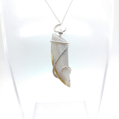 Oregon White Banded Agate Pendant in Sterling Silver