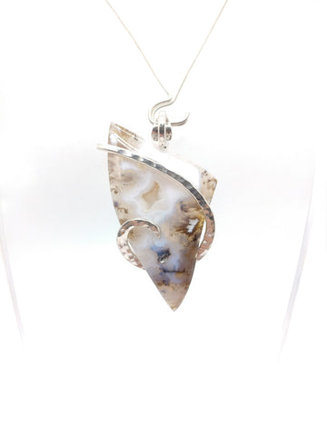 Oregon Graveyard Point Plume Agate Pendant in Sterling Silver