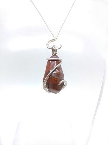 Rare Red Condor Agate Pendant in Sterling Silver