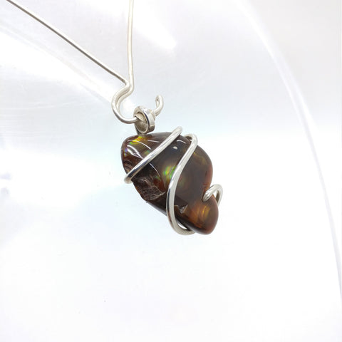 Mexican Fire Agate Pendant in Sterling Silver