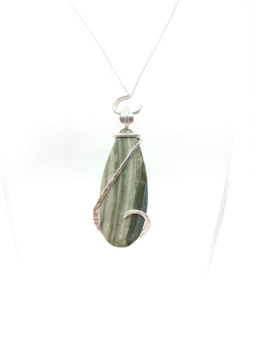 Gary Green Rustic Jasper Pendant in Hammered Sterling Silver