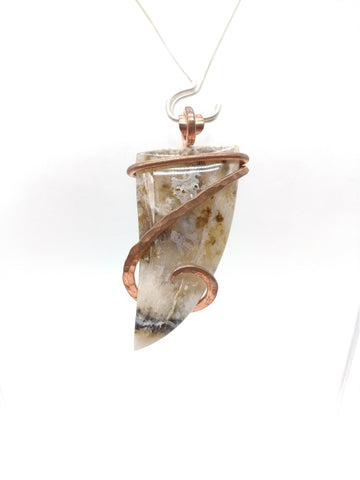Oregon Graveyard Point Plume Agate Pendant in Copper