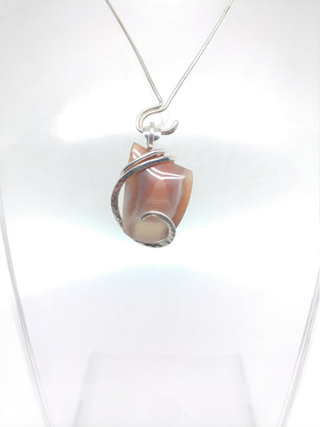 Pink Swazi Agate Pendant in Sterling Silver