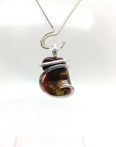 Rare AAA Mexican Fire Agate Gemstone Necklace in Hammered Sterling Silver