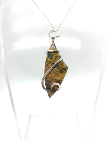 Morrisonite Picture Jasper Pendant Necklace in Hammered Sterling Silver
