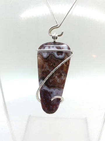 California Paisley Plume Agate Pendant in Hammered Sterling Silver