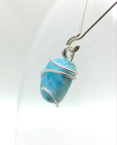 Ocean Blue Larimar Pendant in Hammered Sterling Silver
