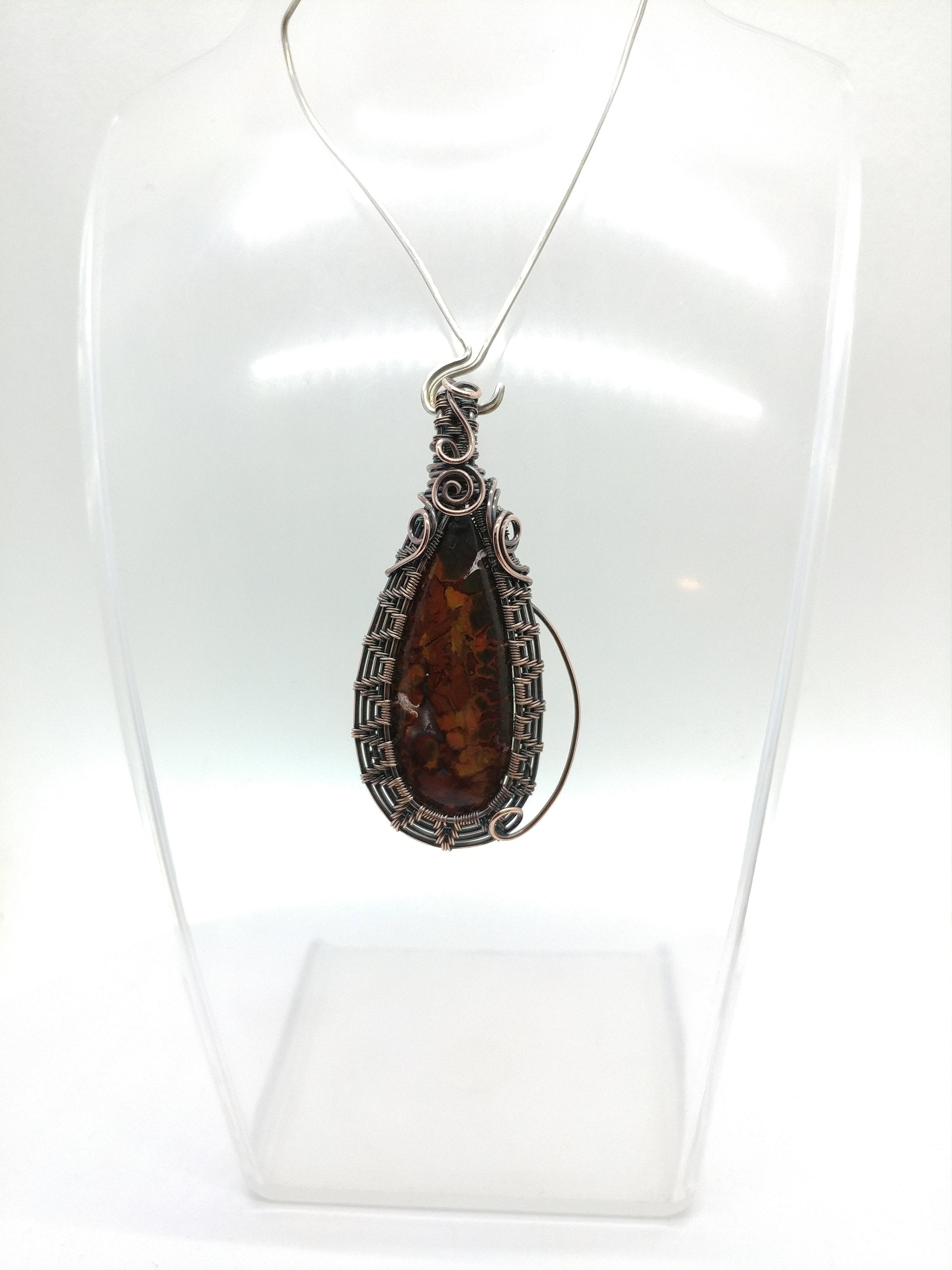 Plume Agate Doublet Wire Wrapped Necklace