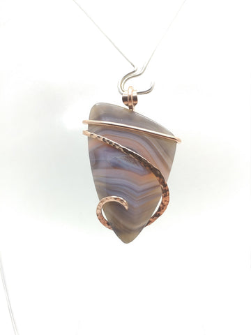 Pink Swazi Rose Agate Pendant in Hammered 14kt Rose Gold Fill