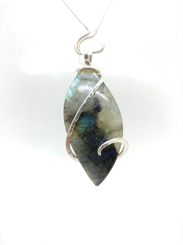 Dancing Blue Colors Labradorite Pendant Necklace in Sterling Silver