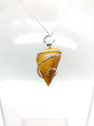 Fierce Orange Washington Carnelian Agate Pendant in Hammered Sterling Silver