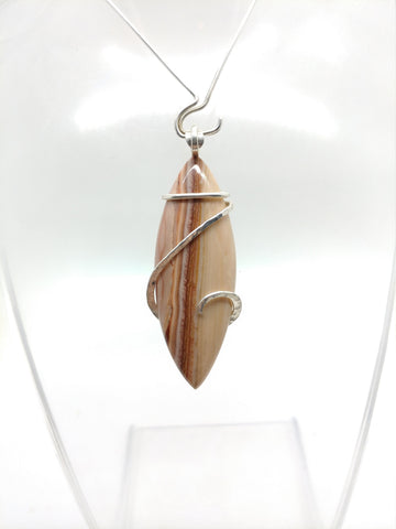 Cool Surfboard Shaped Rolling Hills Dolomite Stone Pendant in Hammered Sterling Silver