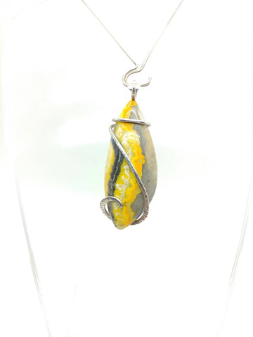Rare Bold Yellow Bumblebee Jasper Pendant in Hammered Sterling Silver
