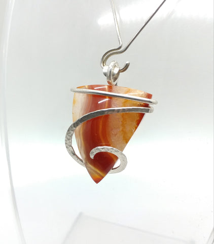 Fiery Red & Orange Carnelian Agate Pendant in Hammered Sterling Silver