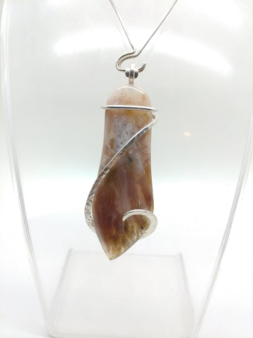Rare Oregon Nyssa Plume Agate Pendant in Hammered Sterling Silver