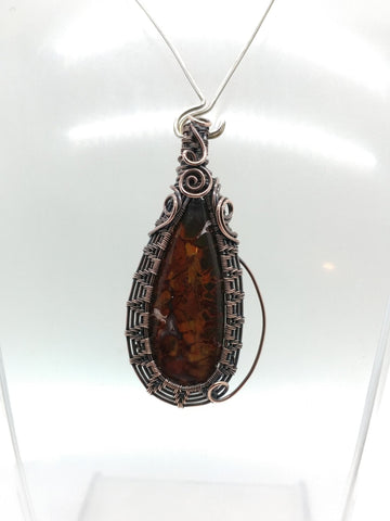 Rare California Cady Mountain Plume Agate Heady Wire Wrapped Pendant in Copper