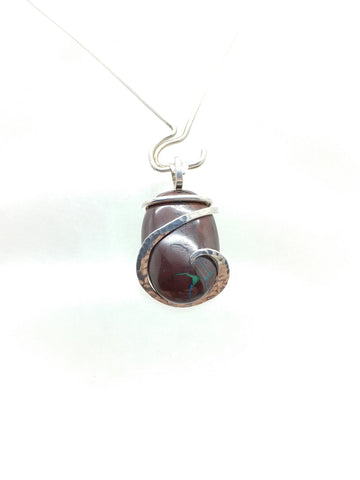 Little Australian Boulder Opal Pendant in Sterling Silver with Green Flash