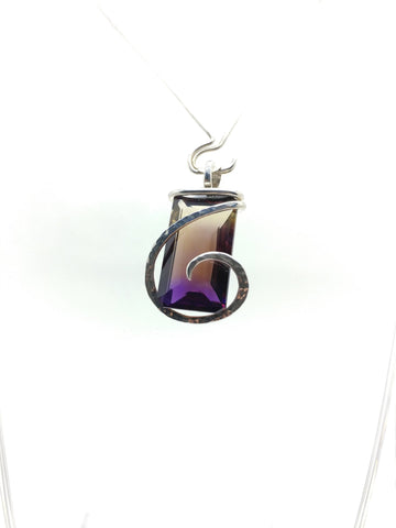 Large Ametrine Gemstone Pendant in Hammered Sterling Silver