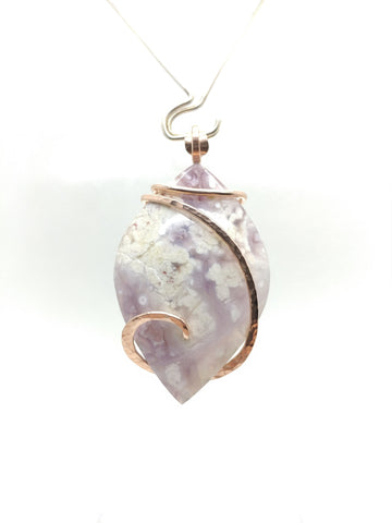 Large Rare Purple Luna Agate Pendant in Hammered 14kt Rose Gold Fill