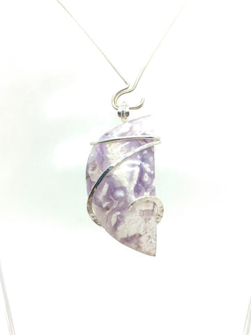 Rare Purple Luna Agate Crescent Moon Pendant in Hammered Sterling Silver