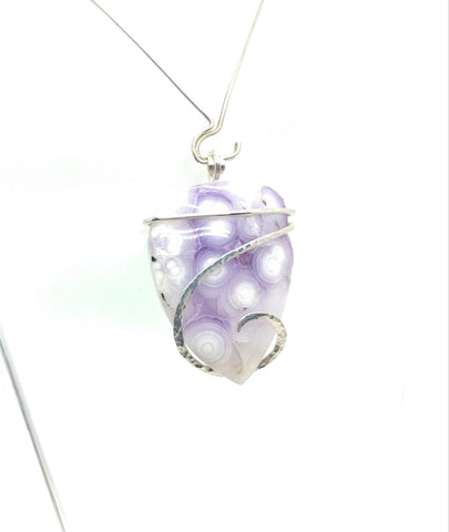 Rare Bright Purple Luna Agate Pendant in Hammered Sterling Silver