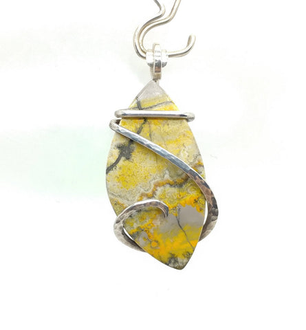 Rare Bright Yellow Bumblebee Jasper Pendant in Hammered Sterling Silver