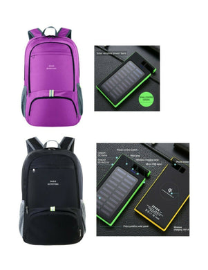 Backpack 40L Lightweight,Packable,Waterproof, with Solar Charger Battery