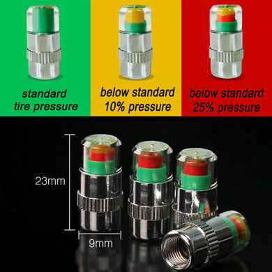 Car tire valve cap with air alert 3 Color Indicator