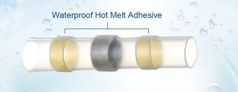 100ea AWG 12-10 Waterproof Solder Seal Heat Shrink butt Connectors