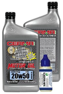 Cerma X 4qt. 20w50Synthtic4Cyc.MotorcycleOil &1.25oz.Motorcycle EngineTreatment.