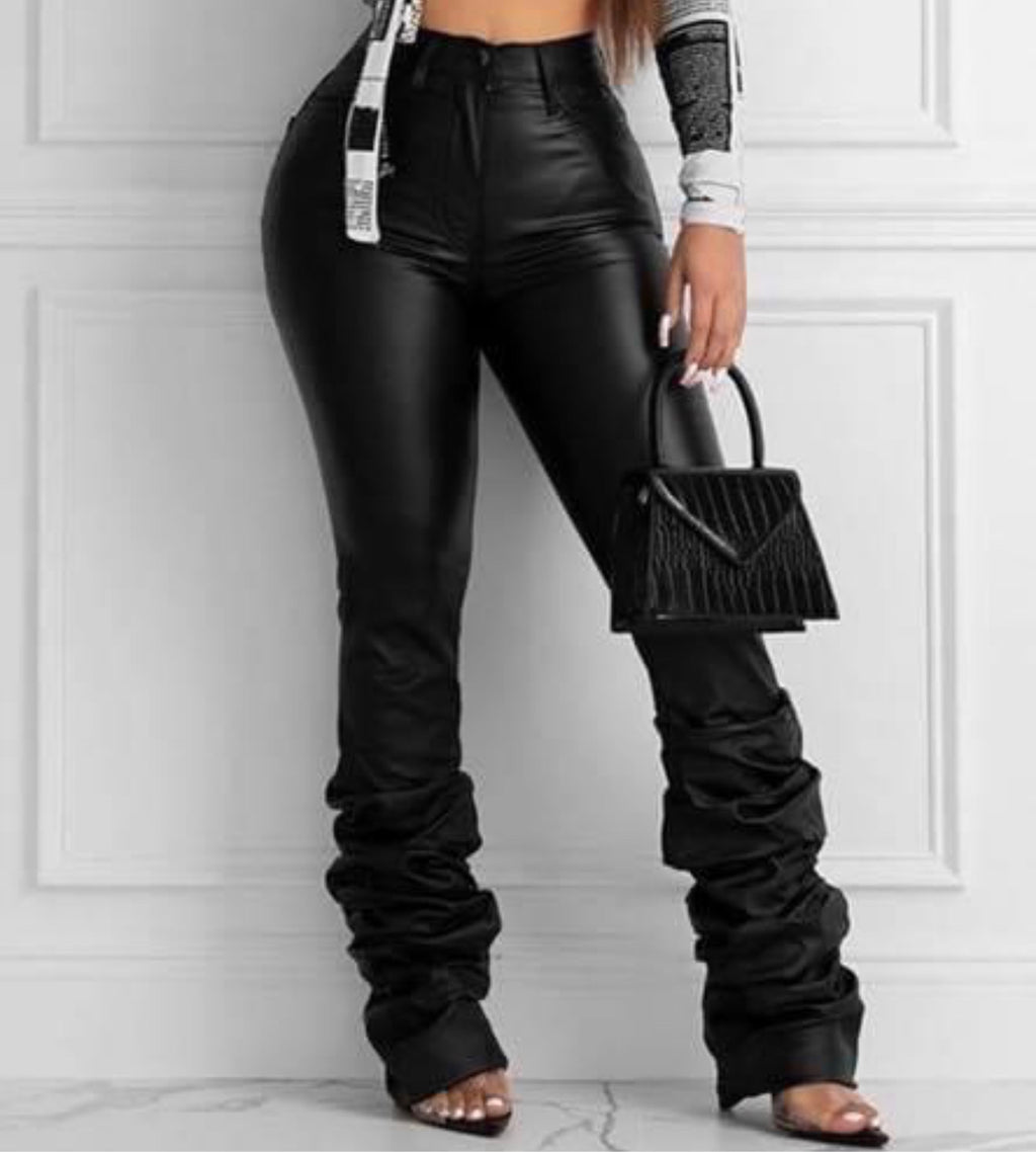 Stacked Leather Pants