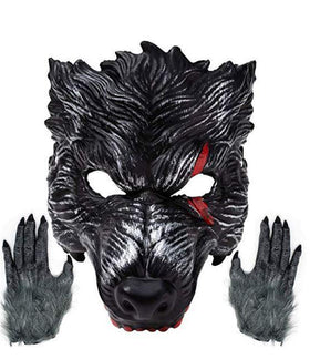 Realistic Werewolf Mask Big Bad Bloody Howling Wolf Costume with Bloodstains Include Gloves for Adult