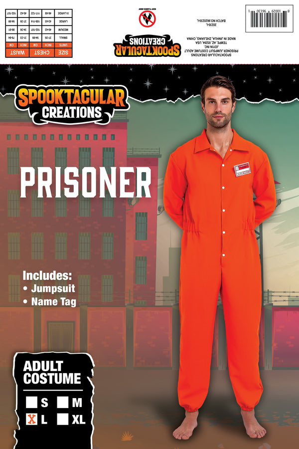 Prisoner Jumpsuit Orange Prison Escaped Inmate Jailbird Coverall Costume with Name Tag - Spooktacular Creations