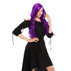 Women Long Purple Curly Wig - Adult