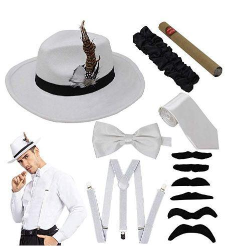1920s Manhattan Mens Costume Accessories Gatsby Gangster Retro Set Fedora Hat