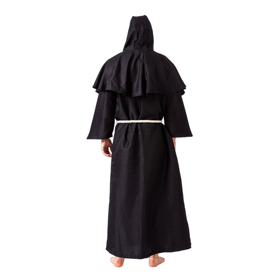 Medieval Hooded Monk Cloak Renaissance Priest Robe Halloween Costume - Adult