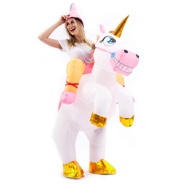 Inflatable Costume Unicorn Riding a Unicorn Air Blow-up Deluxe Halloween Costume - Adult Size - Spooktacular Creations